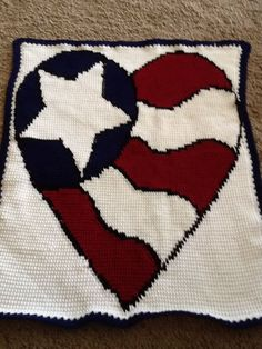 Red, White, and Blue Heart Tunisian Pattern | Crocheting Crazy