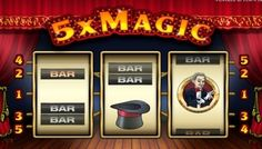 #5xMagic It has a #magic show theme, with the reels placed on a stage with red curtains drawn at the back. The design is #very #good with the logo displayed over the reels and a magician on the pay-table screen, all geared up to show a #magic #trick.