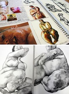 Sketch Book Jenny Saville research pages by Robyn Yeang: love Saville's subject matter - Looking for art sketchbook ideas? This article showcases inspirational high school sketchbooks - inspiration for the student and teacher. A Level Art Sketchbook, Sketchbook Layout, Artist Sketchbook, Sketchbook Inspiration, Sketchbook Ideas, Jenny Saville, Observational Drawing, Illustration, Gcse Art
