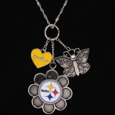 Pittsburgh Steelers Youth Girls Silvertone Heart Butterfly Necklace