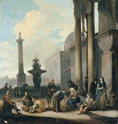 Johannes Lingelbach - Figuren en handelaars nabij een fontein op een Romeins plein