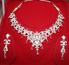 10.00 ct Natural Diamond Ruby 12.50 ct 14k gold Necklace Set