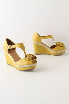spring-summer wear-with-all wedges. Lemon Stick Wedges at #Anthropologie, $148