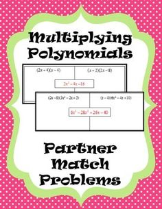 Multiplying Polynomials - Partner Match Problems