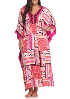 Ellen Tracy Women s Plus Size Long Caftan - Multi - 3X Ellen Tracy a4fd5aea3