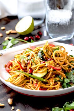 Easy 25 Minute Spicy Thai Pumpkin Noodles (with chicken option)   http://www.carlsbadcravings.com/easy-25-minute-spicy-thai-pumpkin-noodles-with-chicken/