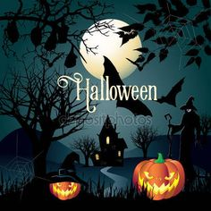 Halloween. Halloween illustration with Halloween pumpkin, bat, magic hat, trees, spiders web, House, moon, witch woman for Halloween Holiday. Halloween Party background, thanksgiving, kids, trick or treat. Happy Halloween. — Stock Vector © sofiartmedia.gmail.com #128506236