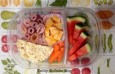 watermelon, lunch meat roll ups (organic/nitrate free), cheese, rice cakes, carrots