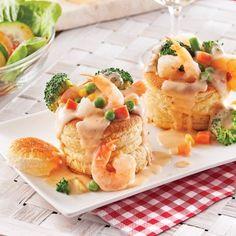 Vol-au-vent aux crevettes et légumes - Pour recevoir - Recettes 5-15 - Recettes express 5/15 - Pratico Pratique