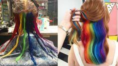 Hidden rainbow hair is the new teen hair craze parents won't even notice