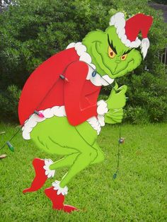 this 3d grinch stealing lights stands 5 tall and was custom made to order for client by art de yard in houston tx - Grinch Christmas Yard Decorations