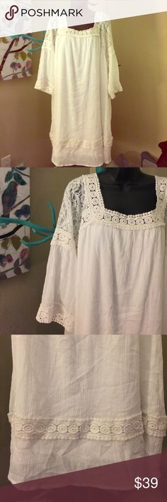 ☀️🌴👙NWT, Lane Bryant, 14/16  lacy, gauzy, dress NWT, Lane Bryant, 14/16, lacy, gauzy dress, so comfy, would look great belted,  ------ my apologies for the wrinkles, waiting on my new steamer to arrive Lane Bryant Dresses Midi