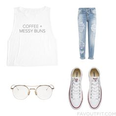 Look Mix & Match Including T-Shirt, Destroyed Jeans, Converse Sneakers And…