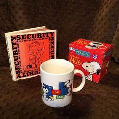 Peanuts Mug + Book Lot Snoopy Joe Cool Linus Security is a Thumb and a Blanket  | eBay