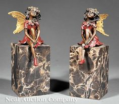 Pair of Bronze Figural Bookends, 20th century