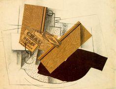 Stilleven op tafel ~ 1913 ~ Collage en houtskool op papier ~ 47 x 62 cm. ~ Particuliere verzameling, Parijs