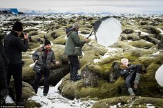 Behind the scenes of the Moncler fall/winter 2015 Nordic-themed campaign photo shoot with brother and sister Lucky Blue and Pyper Smith, photographed by Annie Leibovitz.