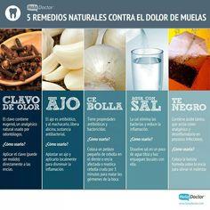 5 Remedios naturales para el dolor de muelas - Infografías y Remedios. #muelas #remedios #dientes #infografía #salud