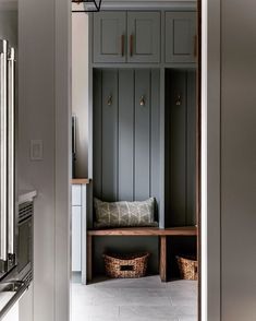 Moody Blue Mudroom complimented by warm earth tones. By Trickle Creek Custom Homes decor ideas apartment Decor, Boot Room, Mudroom, Mudroom Decor, Room Design, Home, Cozy House, Custom Homes, Mudroom Design