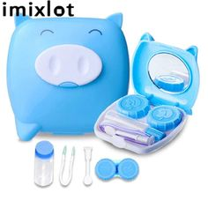 New Cute Unisex Piggy Shape Contact Lens Case Companion Box Contact Lenses Box Soak Storage Travel Container Cute Glasses, Glasses Case, Best Shower Cleaner, Toothbrush Storage, Best Electric Shaver, Animal Room, Cute Pigs, Travel Kits, Travel Bag