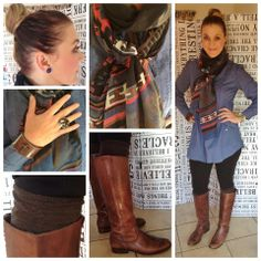 Scarf: Style36. Blouse: Woolworths. Riding pants style tights: Truworths. Trendy Socks: Woolworths. Boots: Studio.W. Earings: Citymob.co.za