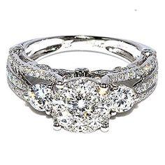 Bridal 3 Stone Style Vintage 2ctw Diamond Engagement Wedding Ring 14K White Gold