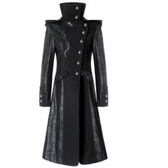 Punk Rave Black Dragon Womens Coat Long Jacket Gothic Steampunk Hooded... ($135) ❤ liked on Polyvore featuring outerwear, coats, goth coat, dragon coat, hooded trench coats, punk coats and steampunk coat