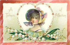 Valentine~Pretty Lady~Lime Sunbonnet~Gold Chain Heart Frame~Lily of Valley~TUCK | eBay