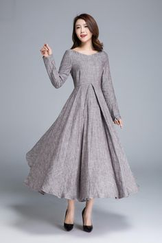 Long linen dress linen dress women party dress spring dress elegant dress long sleeves dress holiday dress made to order 1652 Party Dresses For Women, Holiday Dresses, Spring Dresses, Holiday Outfits, Strapless Midi Dress, Pleated Maxi, Linen Dresses, Maxi Dresses, Swing Dress
