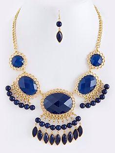 NEW: Tassle Dangle Jewel Necklace Set $26.50 www.popofchic.com