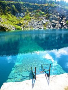 This is Portroe Quarry in Tipperary, Ireland. It's now flooded but it's a popular location for scuba divers with depths to the region of 40 meters available