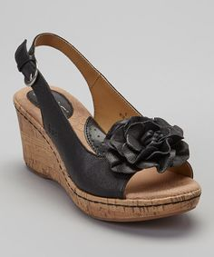 Black Blossom Leather Slingback Wedge Sandal