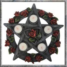 Pentagram Rose Tealight Holder . Gothic, pagan, pentagram tealight holder.