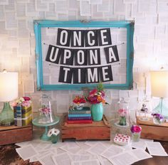 Book Themed Bridal Shower, Book Decor, Book Themed Party, Once Upon A Time Banner, Fairy Tale Party