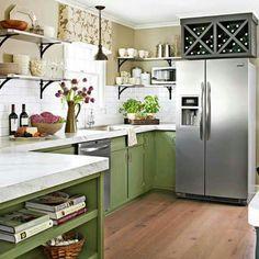 Love this green kitchen