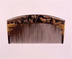 木台梅鶯蒔絵櫛、19世紀