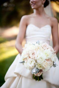 White Lisianthus, White Dahlias, White Roses, Blush Roses, Dusty Miller Bridal Bouquet