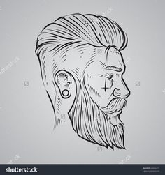 hand draw, hipster label badge, for logo, simple iilustration, man, profile view
