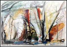 John Piper, c. 1955, Caves, Bullslaughter Bay (Pembrokeshire, SW Wales), Composition No. 1, watercolour, pen, ink and gouache. Copyright Gyselynck, courtesy River and Rowing Museum, Henley on Thames, SE England.