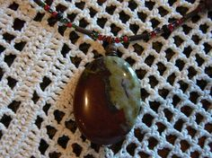 Oval red and green jasper stone by baublesbeadsandmore on Etsy, $25.00