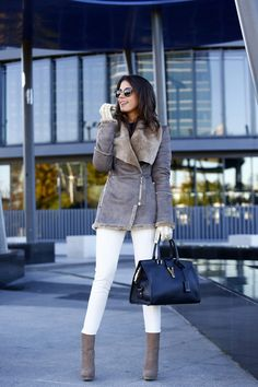women fashion clothing style outfit coat fur sunglasses handbag black white pants boots brown winter casual gloves leather