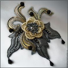 Embroidered brooch (needle lace, beads, goldwork techniques) by Elena Emelina, Russia