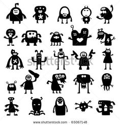 Collection of cartoon crazy funny monsters silhouettes by artenot, via ShutterStock
