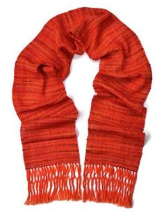 Orange silk and wool beaded hand woven womens scarf by Pretty Warm Designs