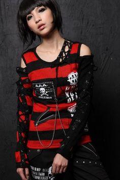 GDR - Punk Fashion Gothic Visual Lolita Shirt 71188R (S) GDR Shirt http://www.amazon.com/dp/B00J1JPAIS/ref=cm_sw_r_pi_dp_l-Cbub1X3FTKY