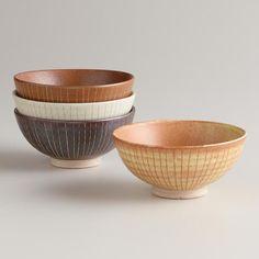 Fuji Lines Rice Bowls, Set of 4