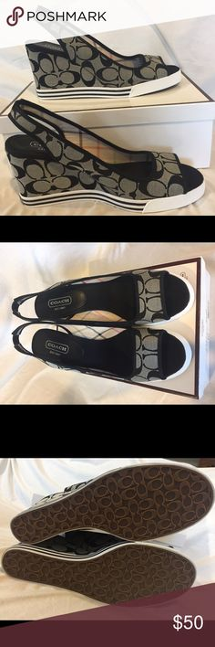 Authentic Coach Sydney Signature Wedge Sandal NWT. Gorgeous Canvas wedge sandal with rubber sole.  Black and gray Coach signature design.  Original box, plastic covering and Coach insert included.  3-3/4 in heel.  Accepting all offers  Coach Shoes Wedges