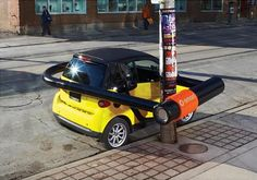 Small size makes a big impact. Great guerilla marketing from Smart Car.