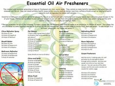 Young Living Essential Oils Air Fresheners - This seems like a huge amount of eos...it would end up being a very expensive air freshner. I like the combos in the recipes, just going to reduce (greatly) the amount of eos.