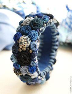 Bead Embroidery Kit, Elven Garden Cuff Bracelet, Birthday Gift for Her, Jewelry … - jewelry diy bracelets Denim Bracelet, Fabric Bracelets, Beaded Bracelets, Denim Armband, Armband Diy, Textile Jewelry, Fabric Jewelry, Bead Embroidery Patterns, Beaded Embroidery